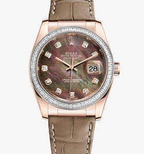 Replica Rolex Datejust 36 mm Watch : 18 ct everose gull - M116185BBR - 0008