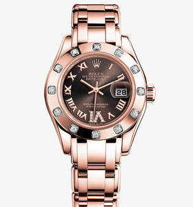 Replica Rolex Lady- Datejust Pearlmaster Watch : 18 ct everose gull - M80315 -0013