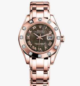 Replica Rolex Lady- Datejust Pearlmaster Watch : 18 ct everose gull - M80315 - 0023