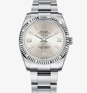 Replica Rolex Air -King Watch : Hvit Rolesor - Kombinasjonen av 904L stål og 18 karat hvitt gull - M114234 -0010